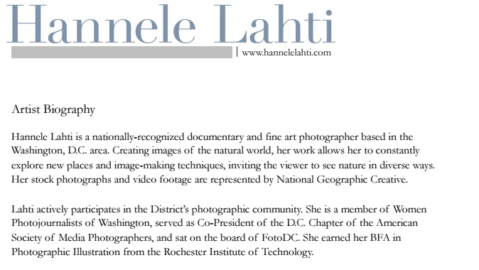 Artist bio examples for Photography bio template